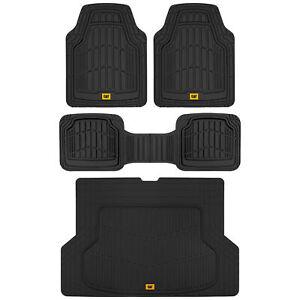 Caterpillar ToughRide Heavy-Duty Rubber Car Floor Mats & Cargo Trunk Liner Set