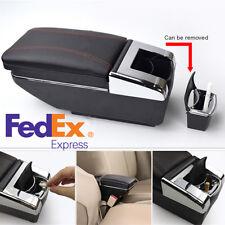 Universal Car Central Container Armrest Box PU Leather Center Storage Case Black