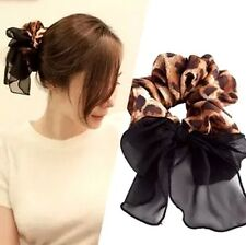 FD3081 Women Girl Leopard Lace Bow Hand Ring Fabric Hair Clip Pin Headrope Ring