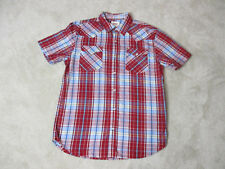 Levis Pearl Snap Shirt Adult Medium Red Blue Plaid Button Up Rodeo Cowboy Mens