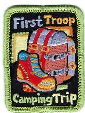 Girl Cub FIRST TROOP CAMPING TRIP Fun Patches Crests Badges SCOUT GUIDE Campout