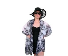Plus Size Silk Kaftan Kimono Top Cape Beach Coverup Overlay Paisley 198 BLACK