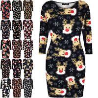 Womens Christmas Bodycon Ladies Xmas Santa Reindeer Rudolph Gift Star Mini Dress