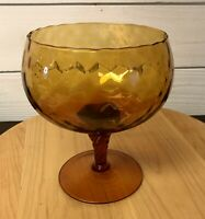 Vintage Empoli Amber Glass Pedestal Optic Compote Brandy Snifter Italy