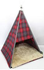 Catwam Chat Chaton Lit Souple Tweed Carreaux Tente Maison Amusant Wigwam Abri