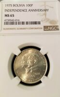1975 BOLIVIA SILVER 100 PESOS INDEPENDENCE ANNIVERSARY NGC MS 65 HIGH GRADE