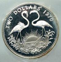 1970 The BAHAMAS Elizabeth II FLAMINGO Birds PROOF SILVER 2 Dollars Coin i85540