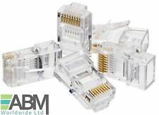 100 x RJ45 Cat6e Ethernet Network LAN Cable Lead Crimp End Plug Connector LOT UK