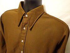 Mens Sutton Knits L/S Button Front Brown Geometric Shirt sz L 100% Polyester