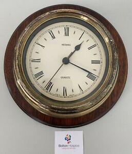 Metamec Ships Wall Clock Quartz Brown Wood Brass Surround Vintage Working #4225