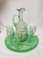 Vintage venetian glass liqueur set , bottle, 5 glasses and glass tray Liquor