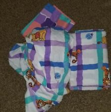 Disney Pooh Tigger sheet set fitted flat twin vintage plaid blue pillowcase