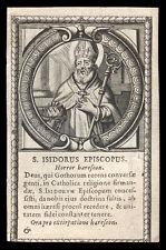 santino incisione 1600 S.ISIDORO ARCIV. DI SIVIGLIA