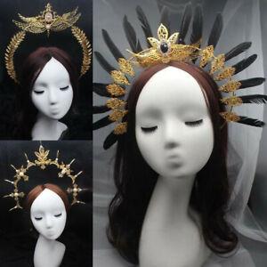 Women Halo Crown Baroque Feather Pearl Tiara Headband Virgin Mary Headpiece