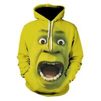 Mens Women Shrek 3D Printed Hooded Sweater Hooded Pullover Hoody Coat S-5XL Size