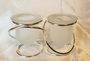 Partylite P7207 Silver Plate Gemini Linked Candle Holders