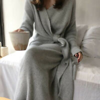 Belted Cashmere Sweater Dress Women Fashion Soft Lady V Kneck Knitted Dress