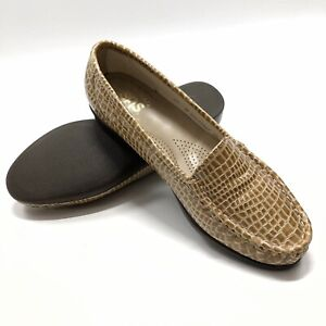 ✅💟✅@ SAS Loafers Women 6.5 M Brown Croc Print Patent Leather Shoes Wedge Flats