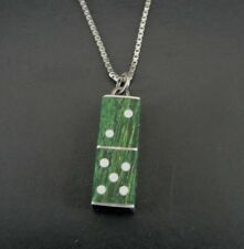 Vintage Dice Green Stone Enamel Craps Sterling 925 Silver Pendant Necklace
