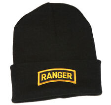 Delux Military 3D Patch Embroidery Black Cuff Beanie Army Tab Ranger