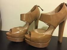 Authentic SOPHIA BUSH Miu Miu Camel Patent Leather Platform Heels Size: 7.5