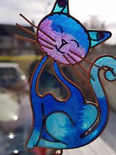 Blue Stained Glass Cat ~  Hanging Suncatcher Mobile Garden Home Wind Chime