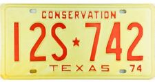 NOS UNISSUED 1974 Texas CONSERVATION License Plate NICE PLATE