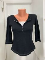 Style and Co petite Cotton quarter snap ribbed top size pm