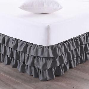 "Waterfall 3-Layer Ruffled Bed skirt 14"" Drop"