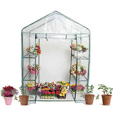 WALK IN GREENHOUSE EXTRA LARGE PVC & SHELVING PVC COVER OUTDOOR GARDEN PLASTIC