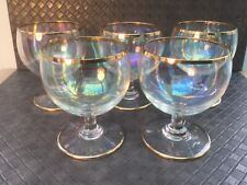 5 X VINTAGE SMALL CHAMPAGNE/MARTINI/COCKTAIL GLASSES - TWO GOLD RIMS