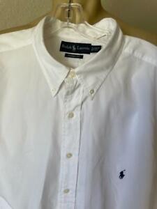 Ralph Lauren Men's White Solid Long Sleeved Button Front Shirt Size 2XLT $99