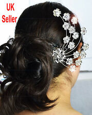 Bridal Wedding Cryatsl Diamond Flower Hair Comb Clip Wedding Gift  UK Seller