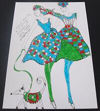 Roz Jennings Fashion Drawing Original Art Work Illustrator Laura Ashley 1970 A20