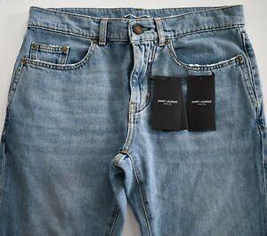 $750 New SAINT LAURENT Paris Dirty Vintage Blue SLIM RIPPED DISTRESSED Jeans 30
