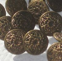 Lot 21 LOVELY small FLOWER picture vintage antiqued brass metal new buttons 9/16