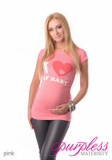 Love Baby - Adorable Slogan Cotton Printed Maternity Pregnancy Top T-shirt 2005d 8/s Pink