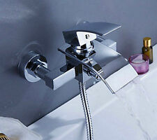 Wall Mounted Waterfall Bathroom Bath Tub Shower Tap Mixer Faucet W/Hand Shower