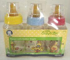 Gerber Little Suzy's Zoo Nurser with Rubber Nipple Baby Bottles - 3 pack