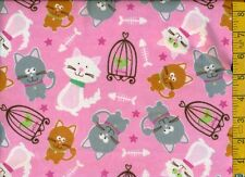 1/2 yard FLANNEL Gray Gold White Cats & Birds in Cages on Pink BTHY
