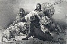 Antique woodcut print : Tewodros Theodore Theodorus II Ethiopia Abyssinia 1867