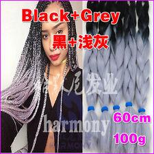 "24"" Ombre Kanekalon Jumbo Braiding Synthetic Hair Extension Twist Braids 100g"