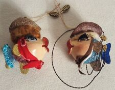 Rare Set Of Two Katherine's Collection Cowgirls Kissing Fish Ornament