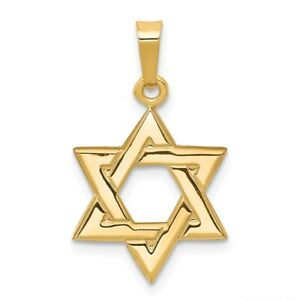 14K Yellow Gold Solid Polished Star Of David Pendant