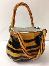 Studio Art Glass Hand Blown Purse Handbag Vase Brown Stripe GD
