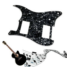 Pearl 3Ply Guitar Pickguard For Fender Stratocaster Strat HH 2 Humbucker Black