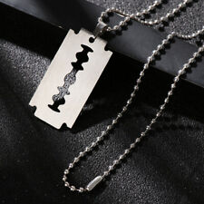 Hip Hop Punk Street Stainless Steel Pendant Razor Blade Shaped Dogtag Necklace