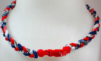 """NEW 20"""" Custom Clasp Braided Sport Navy Blue Red White Twisted Tornado Necklace"""