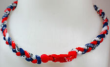 "NEW 20"" Custom Clasp Braided Sport Navy Blue Red White Twisted Tornado Necklace"