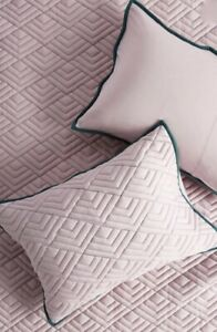 Anthropologie Standard Shams Set of 2 Quilted Geo Lavender Green 20 x 26 NWT